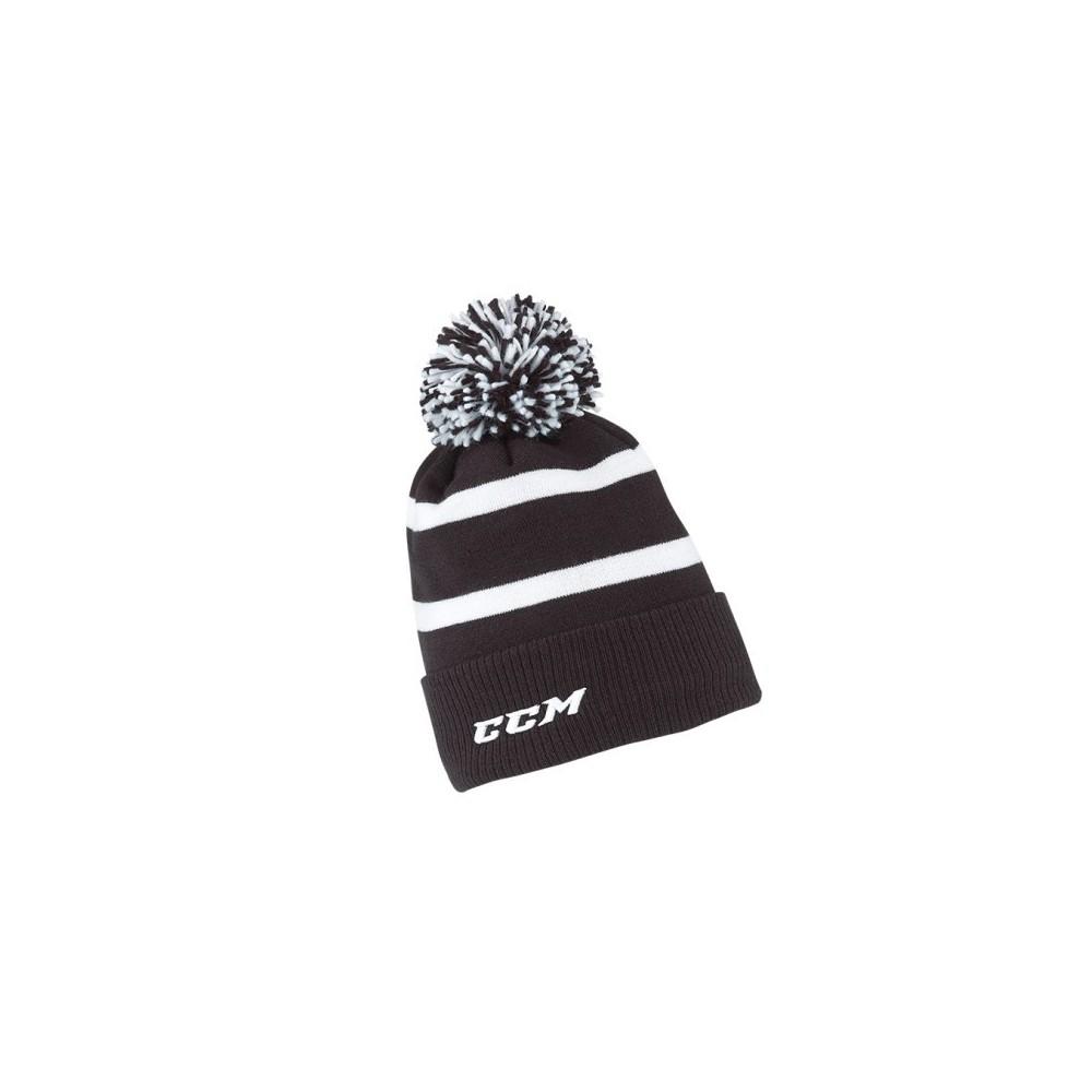 Bonnet CCM Cuffed a pompon noir/blanc