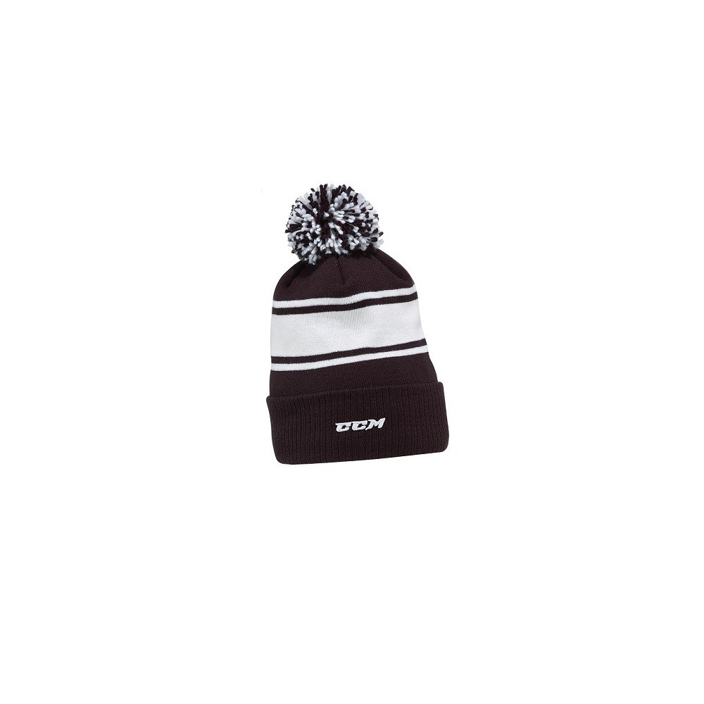 Bonnet CCM Team Fleece a pompon noir/blanc